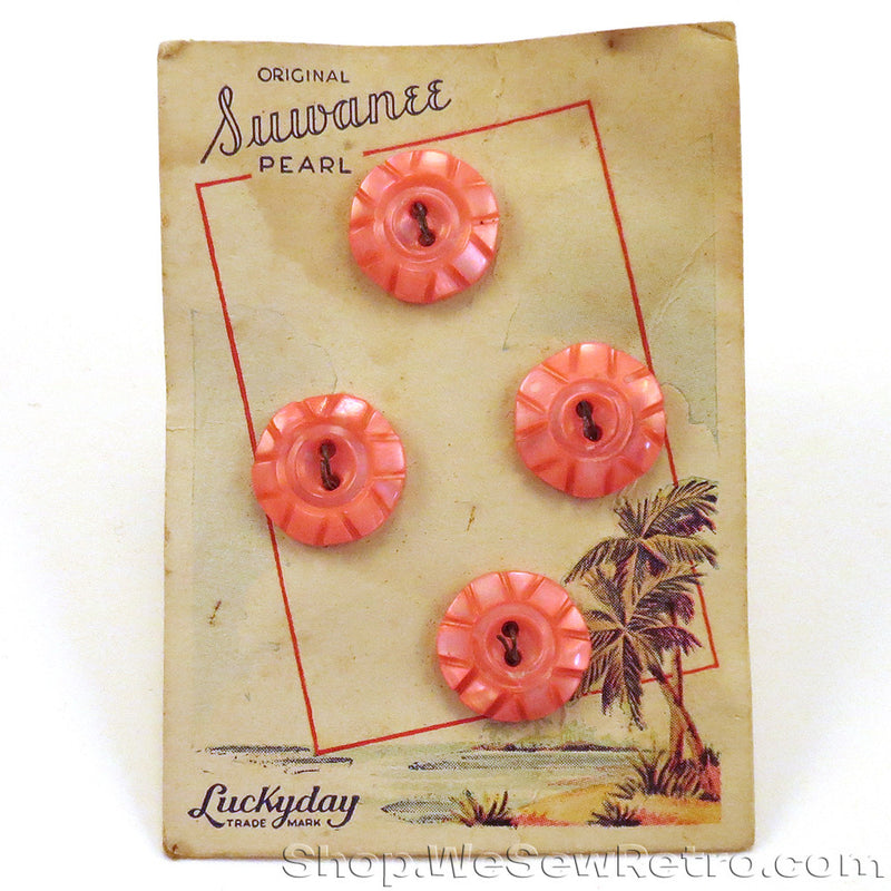 4 Fluorescent Pink Vintage Pearl Buttons