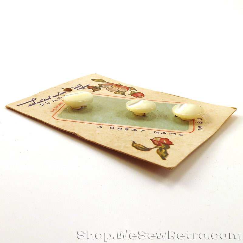 Six 1940s Vintage Pearl Buttons on Original Cards - Lansing Pearls
