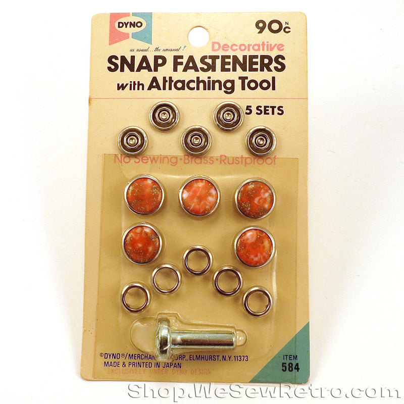 Orange Vintage Snap Fastener Kit for Pearl Snap Shirts