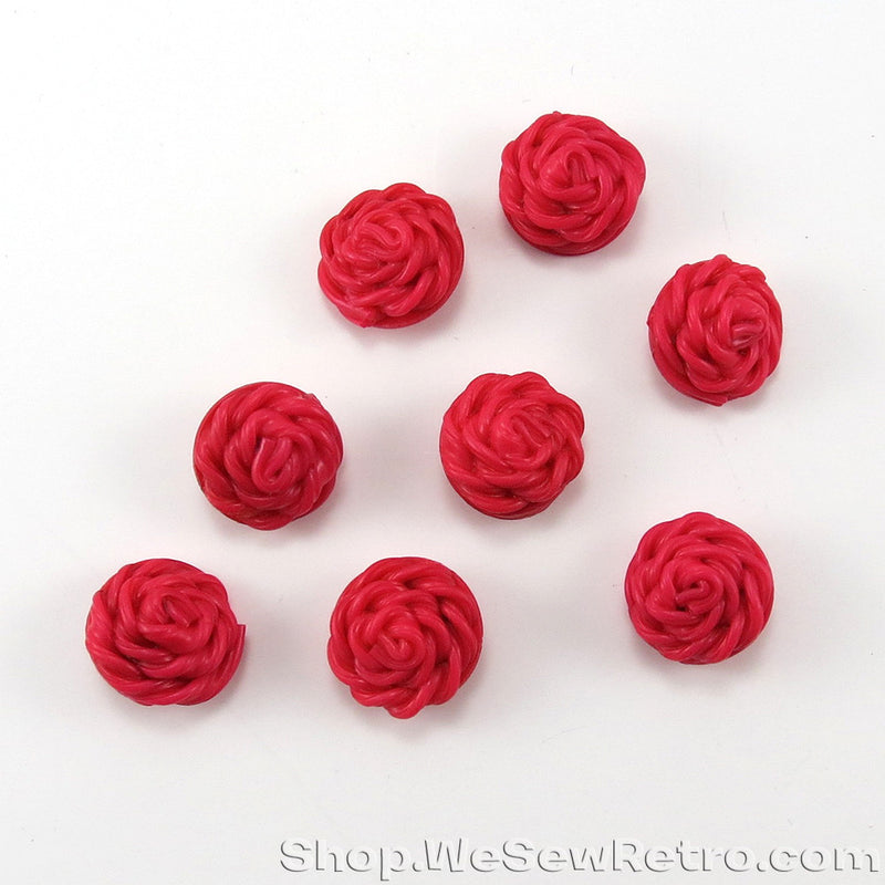 8 Vintage Deep Pink Rose Buttons
