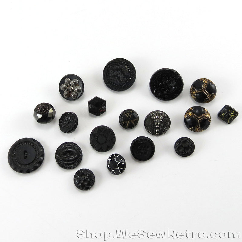 Black Glass Jet Antique Button Collection Starter Pack