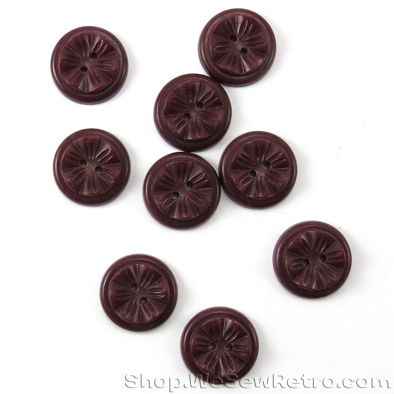 Set of 9 Warm Brown Vintage Buttons