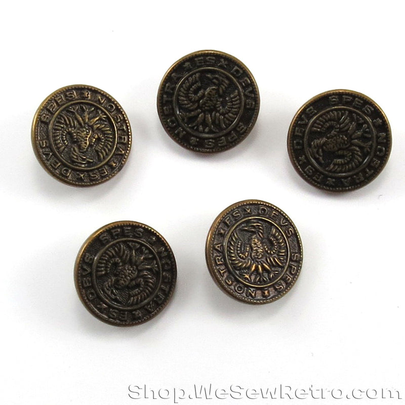 Set of 5 Metal Fashion Buttons - Spez Nostra Es Deus - God is Our Hope