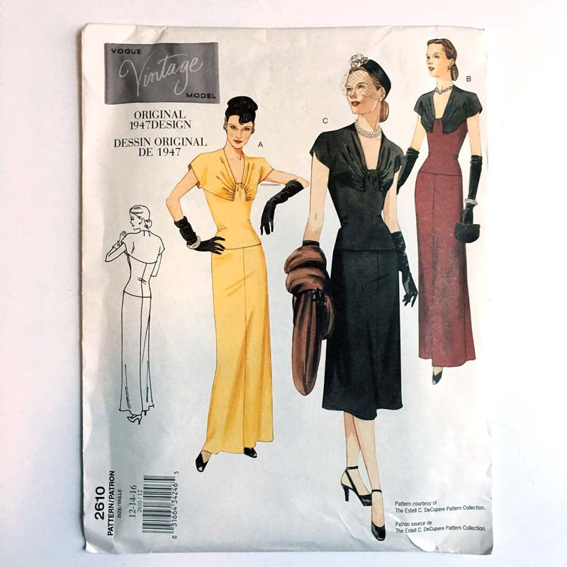 Vintage Vogue 2610 1940s Misses Dress Sewing Pattern