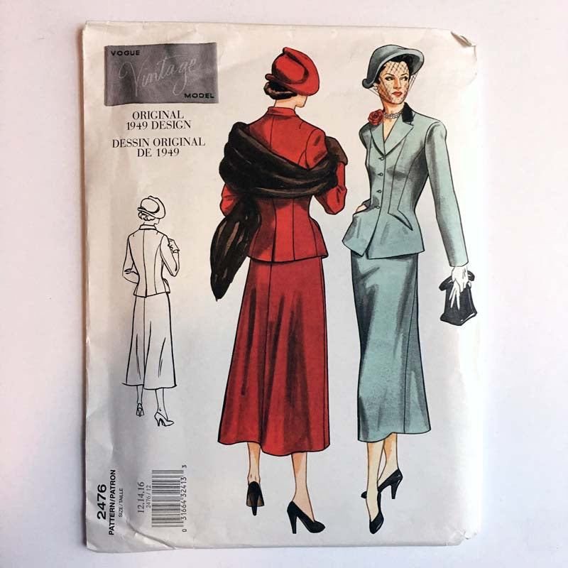 Vintage Vogue 2476 1940s Misses Jacket & Skirt Sewing Pattern