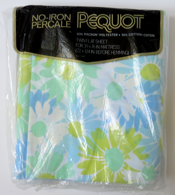 Blue Green Daisy Vintage Sheet (NIP / Deadstock) Queen Flat / Twin Flat