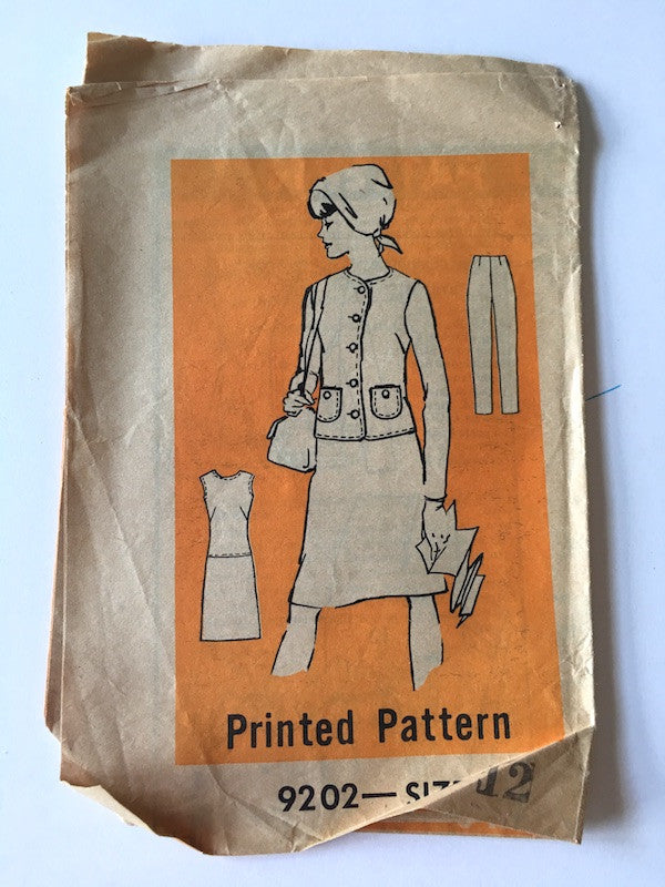1960s Vintage Mail Order Sewing Pattern - Dress, Jacket, and Pants Pattern - Mail Order 9202
