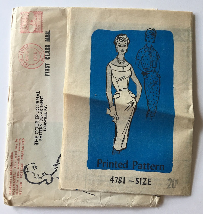 1950s Vintage Mail Order Pattern - Dress & Bolero Sewing Pattern - Mail Order 4781