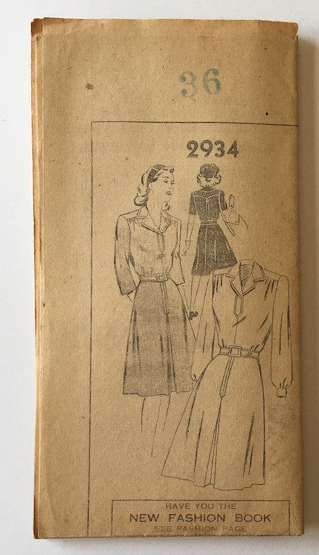 1940s Vintage Mail Order Sewing Pattern - 1940s Dress Pattern, Mail Order 2934