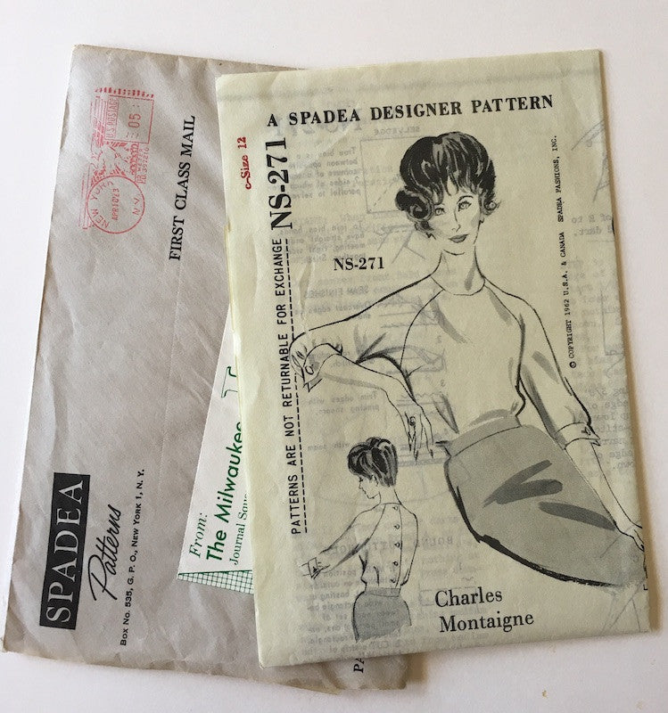 1960s Vintage Spadea Sewing Pattern - Charles Montaigne Back Button Blouse Pattern Spadea NS-271
