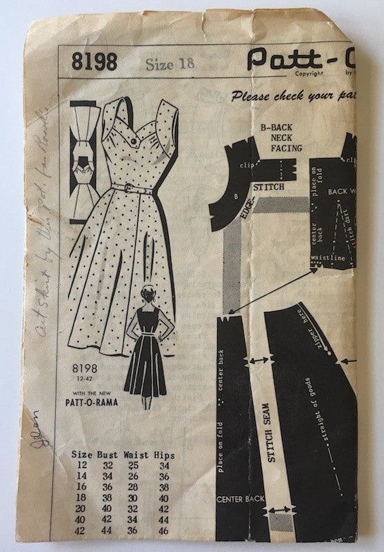 1950s Vintage Mail Order Sewing Pattern - Dress Pattern Patt-O-Rama 8198