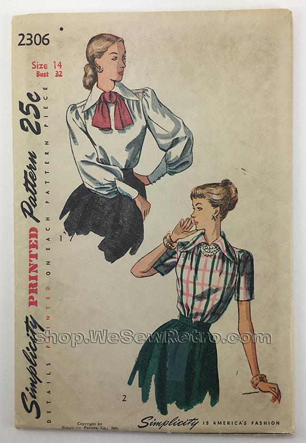 Simplicity 2306 1940s Blouse Sewing Pattern