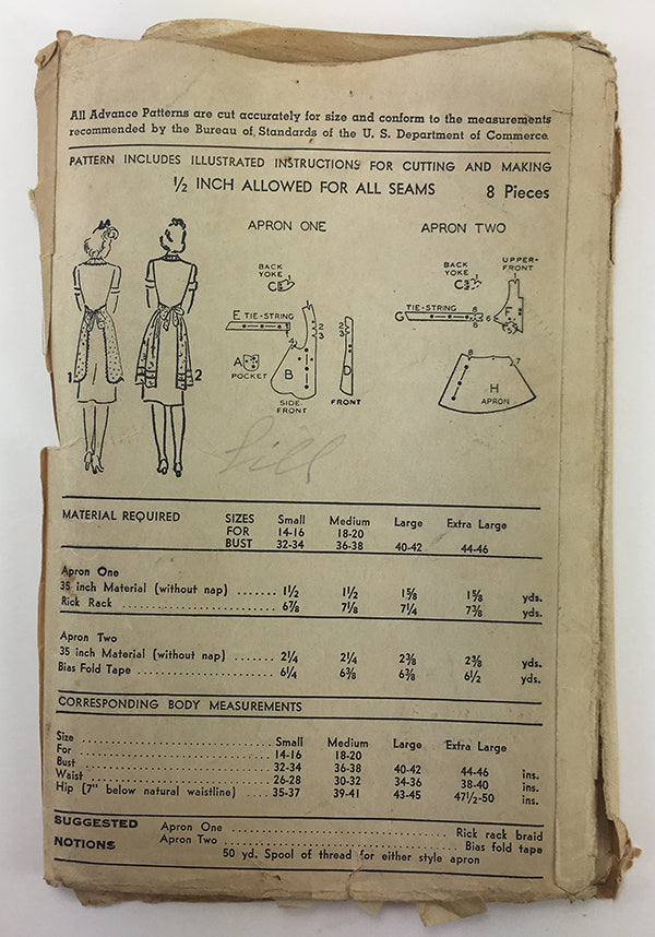 Advance 9647 1940s Apron Sewing Pattern - 40 to 42 Bust