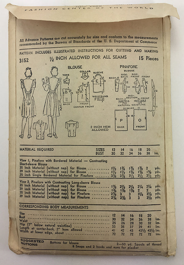 Advance 3152 1940s Pinafore Sewing Pattern