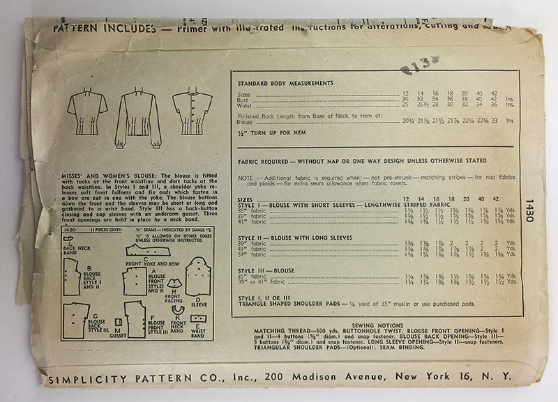 Simplicity 1430 1940s Blouse Sewing Pattern - 38 Bust
