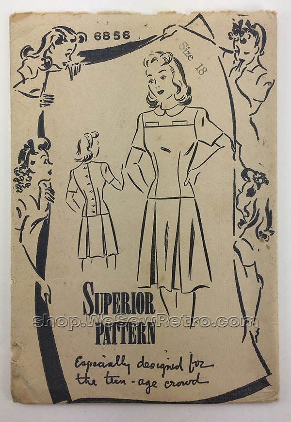 Superior 6856 1940s Vintage Dress Sewing Pattern