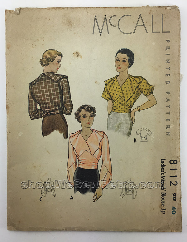 McCall 8112 1930s Blouse Sewing Pattern - 40 Bust