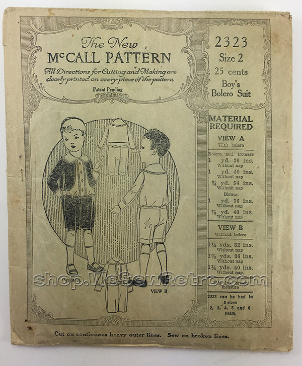 McCall 2323 1920s Vintage Little Boy's Bolero Suit Sewing Pattern
