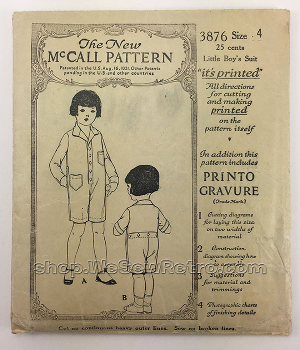 McCall 3876 1920s Vintage Little Boy's Suit Sewing Pattern