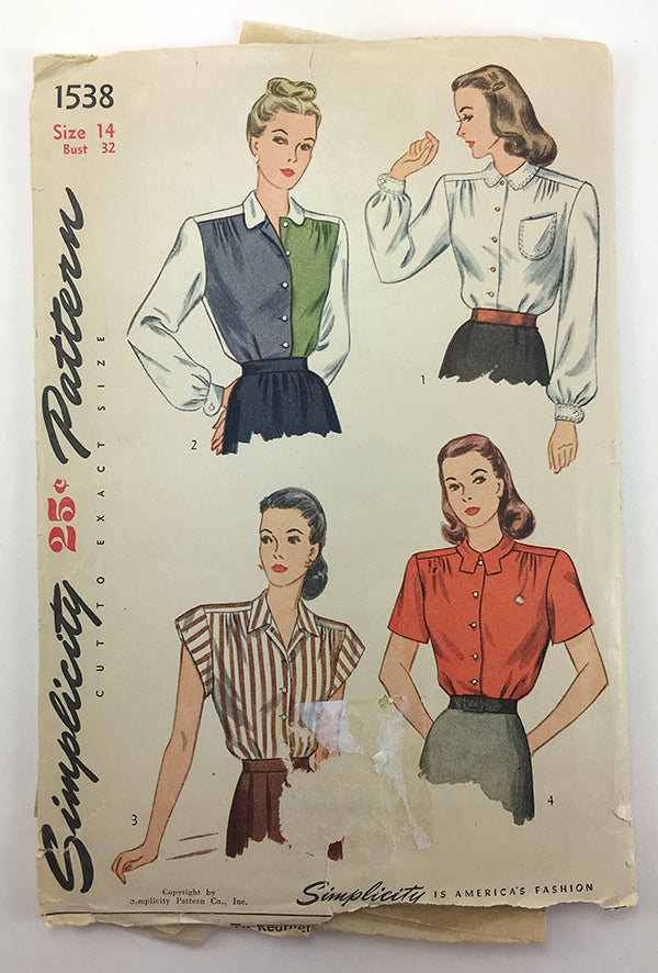 Simplicity 1538 1940s Blouse Sewing Pattern
