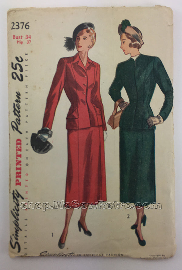 Simplicity 2376 1940s Two Piece Suit Sewing Pattern