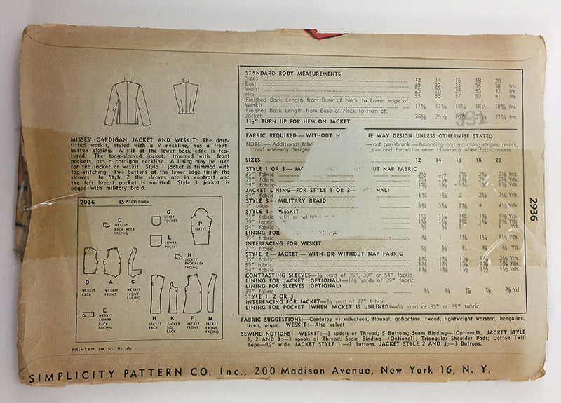 Simplicity 2936 1940s Cardigan and Weskit Sewing Pattern