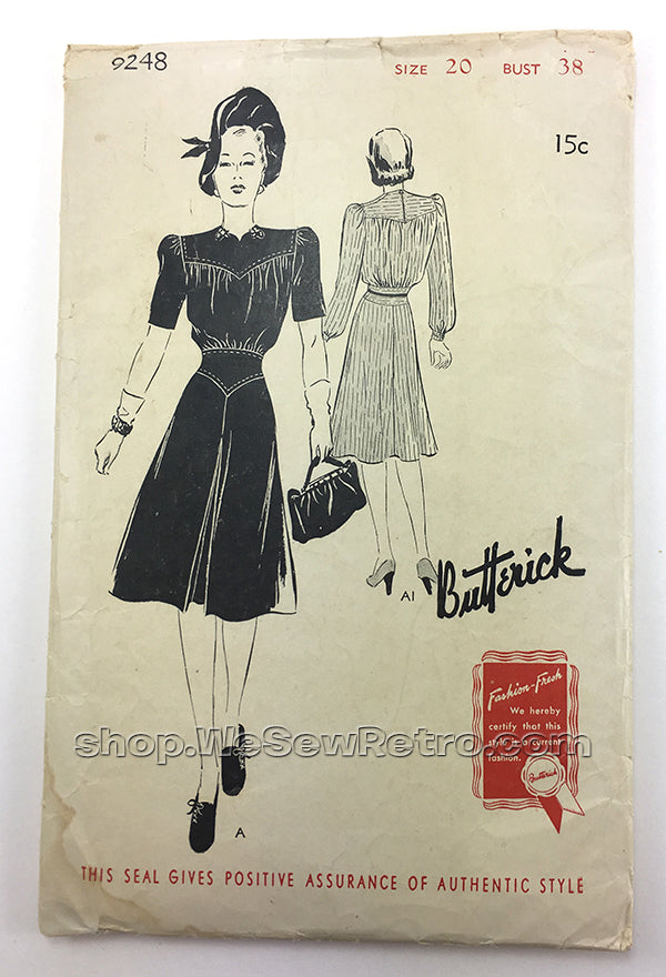 Butterick 9248 1940s Vintage Dress Sewing Pattern