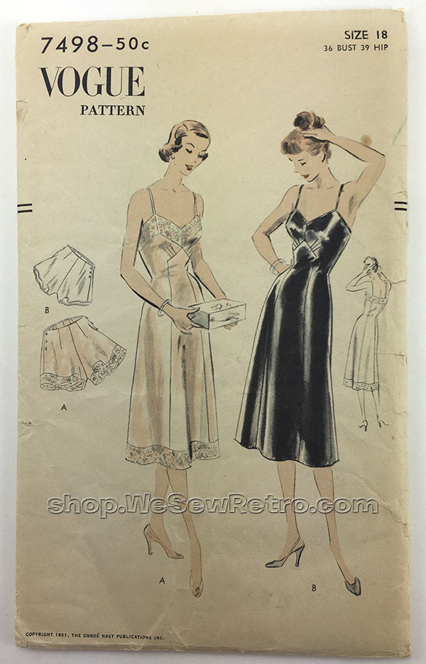 Vogue 7498 1950s Slip and Panties Vintage Sewing Pattern