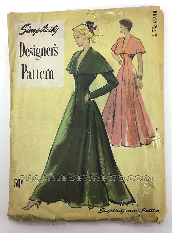Simplicity 8085 1940s Hostess Gown Vintage Sewing Pattern