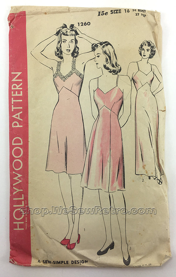 Hollywood 1260 1940s Slip Vintage Sewing Pattern