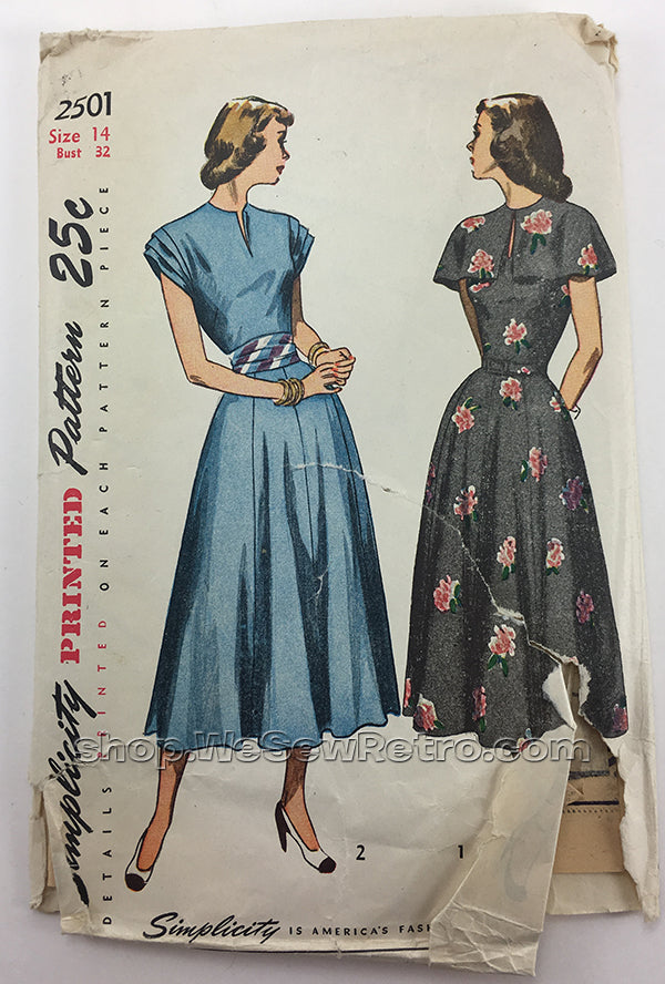 Simplicity 2501 1940s Dress Vintage Sewing Pattern