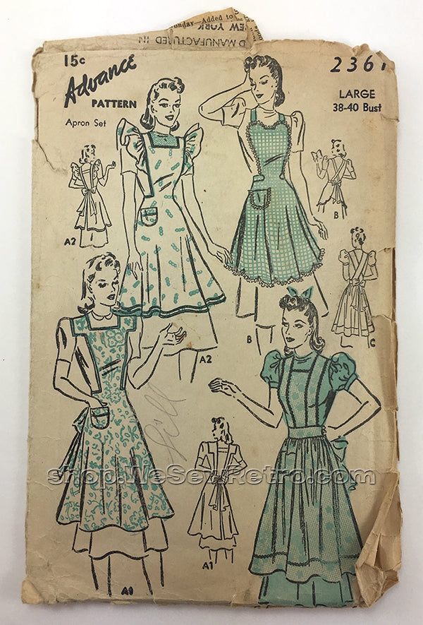 Advance 2361 1940s Apron Sewing Pattern - 38 to 40 Bust