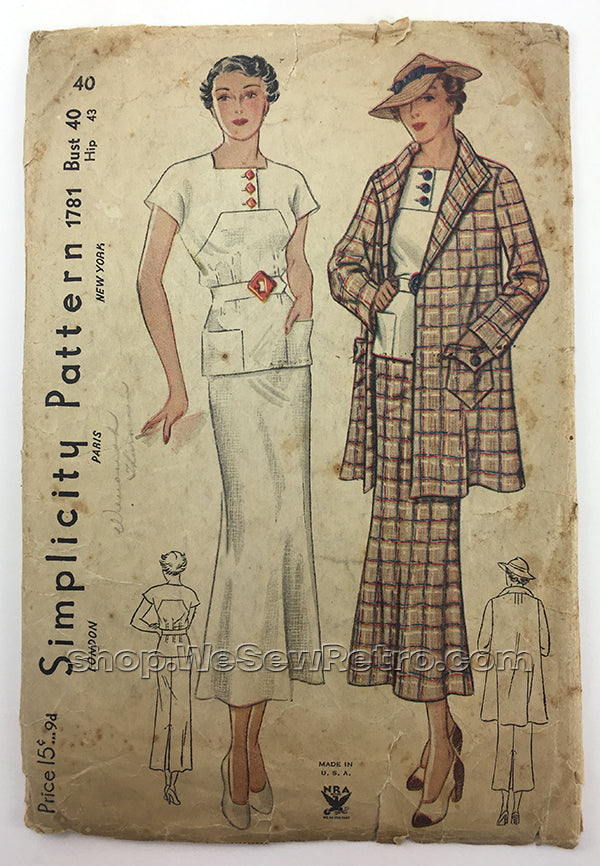 Simplicity 1781 1930s Vintage Dress Sewing Pattern - 40 bust