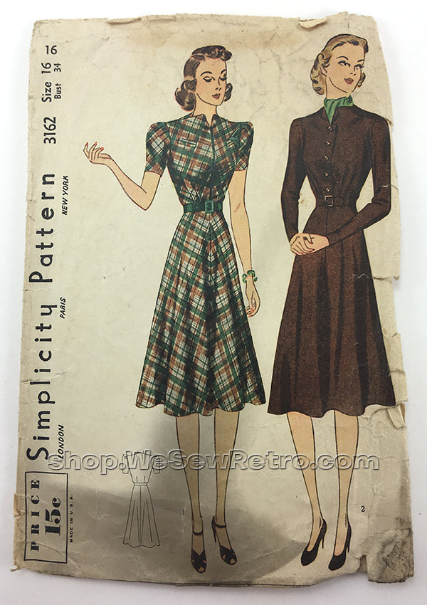 Simplicity 3162 1940s Dress Vintage Sewing Pattern