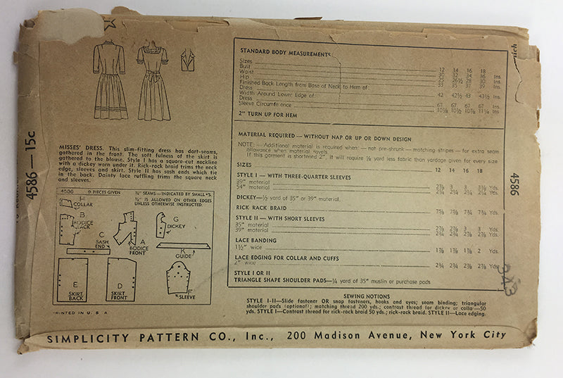 Simplicity 4586 1940s Dress Vintage Sewing Pattern