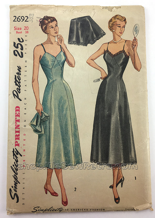 Simplicity 2692 1940s Lingerie Sewing Pattern