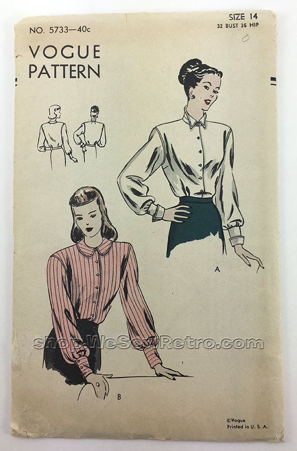 Vogue 5733 1940s Vintage Blouse Sewing Pattern