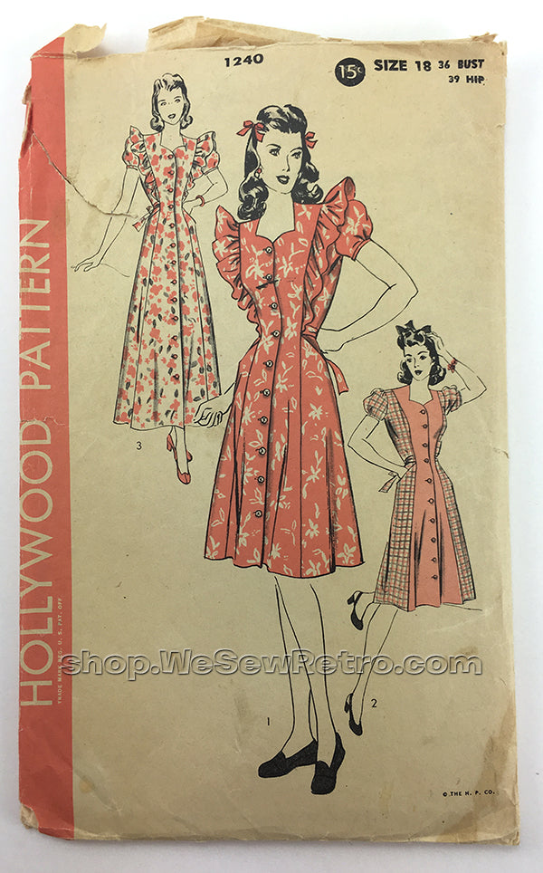 Hollywood 1240 1940s Dress Vintage Sewing Pattern