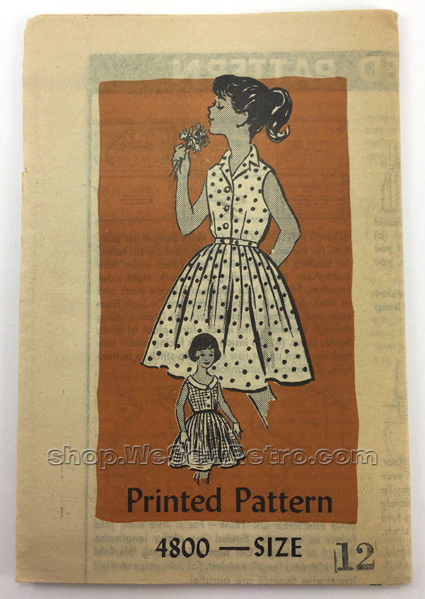 Mail Order Pattern 4800 1950s Girls Dress Vintage Sewing Pattern