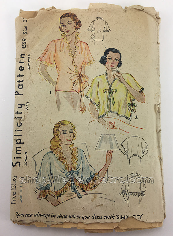Simplicity 1559 1930s Bedjacket Vintage Sewing Pattern