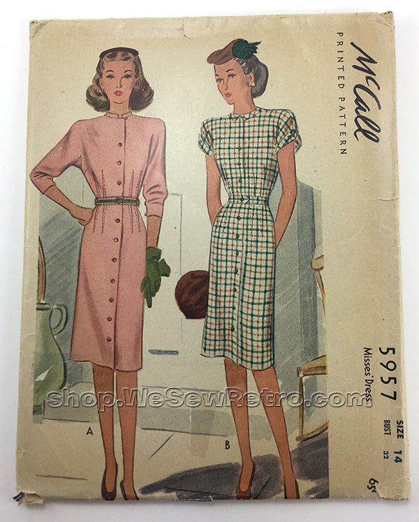 McCall 5957 1940s Dress Vintage Sewing Pattern