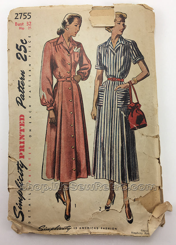 Simplicity 2755 1940s Dress Vintage Sewing Pattern