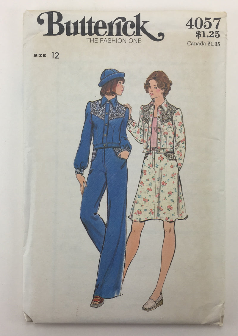 Butterick 4057 1970s Jeans, Skirt, Jacket Vintage Sewing Pattern
