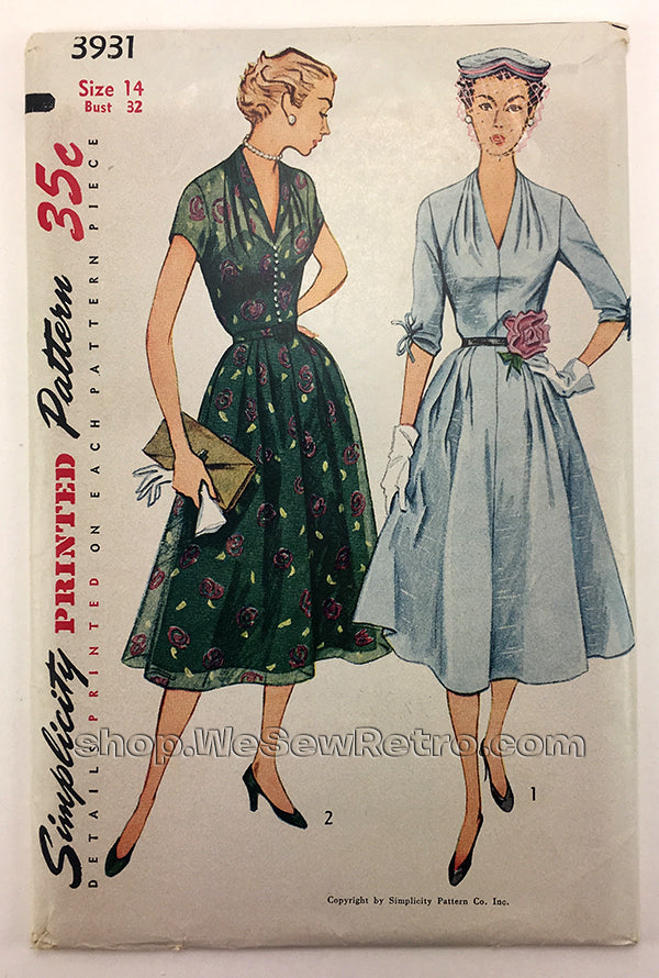 Simplicity 3931 1950s Dress Vintage Sewing Pattern