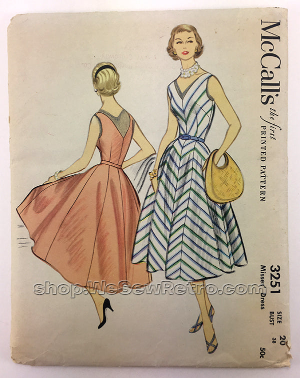McCalls 3251 1950s Dress Vintage Sewing Pattern