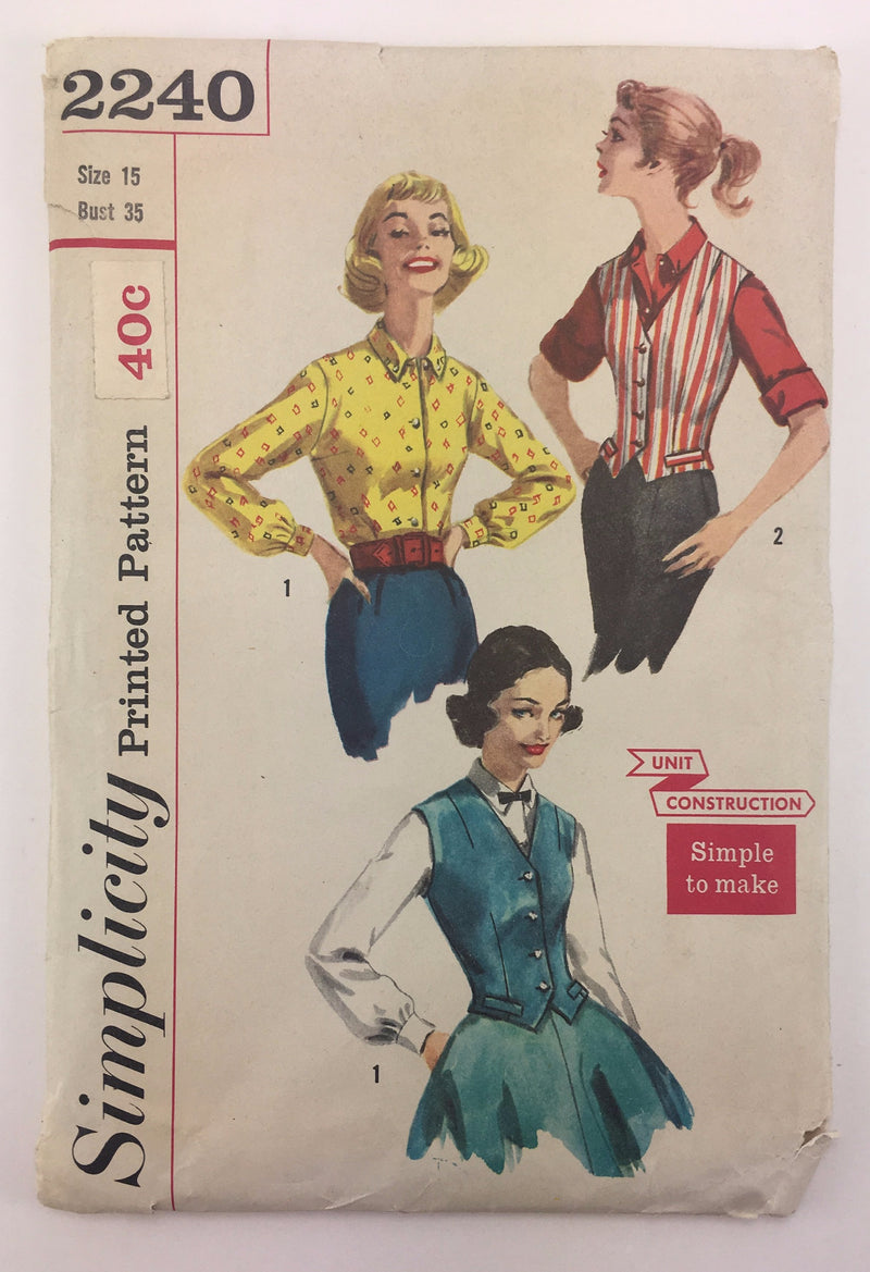 Simplicity 2240 1950s Blouse and Weskit Vintage Sewing Pattern