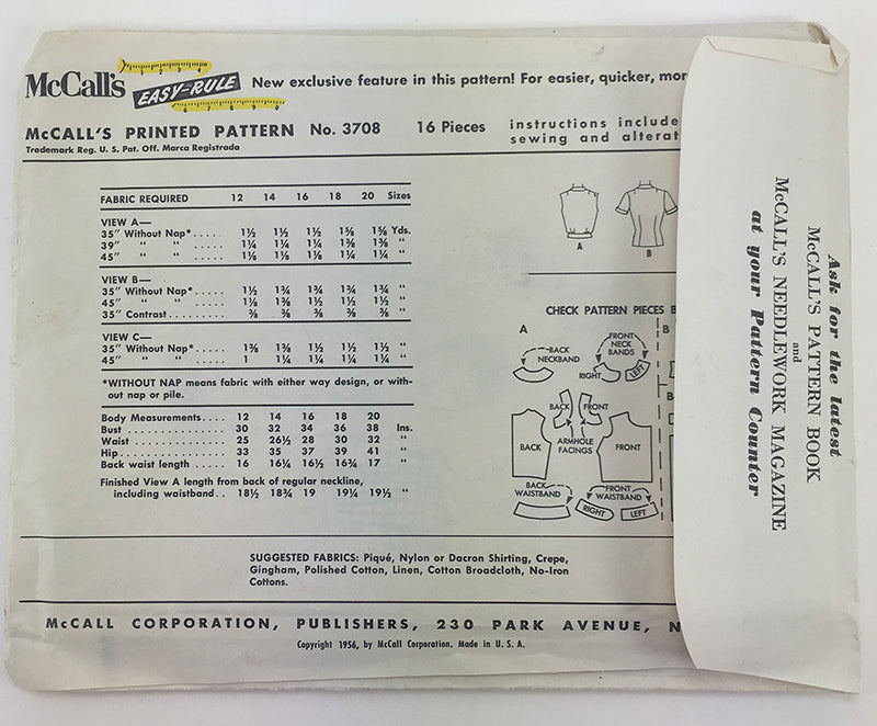 McCalls 3708 1950s Misses Blouse Vintage Sewing Pattern