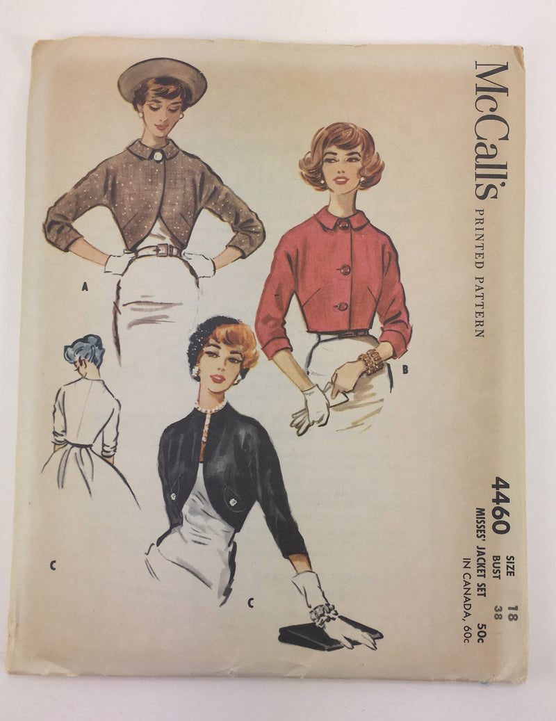 McCalls 4460 1950s Jacket Vintage Sewing Pattern
