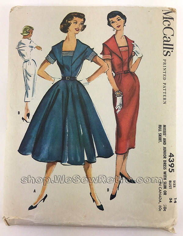 McCalls 4395 1950s Sailor Dress Vintage Sewing Pattern