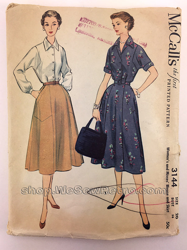 McCalls 3144 1950s Blouse and Skirt Vintage Sewing Pattern